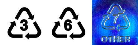 Evite Produtos com códigos de reciclagem 3, 6 e 7